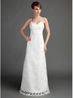 A-Line/Princess Sweetheart Floor-Length Satin Lace Wedding Dress With Ruffle Beading (002015697)