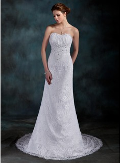 Sheath/Column Sweetheart Court Train Satin Lace Wedding Dress With Ruffle Beading Sequins (002000202)