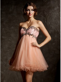 Sweet Sixteen Dresses Empire Sweetheart Short/Mini Taffeta Tulle Homecoming Dress With Ruffle Beading (022008996)