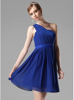 A-Line/Princess One-Shoulder Short/Mini Chiffon Bridesmaid Dress With Ruffle (007000777)