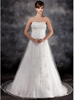 Empire Strapless Watteau Train Tulle Charmeuse Wedding Dress With Lace Beading (002016930)