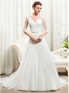 A-Line/Princess V-neck Cathedral Train Tulle Lace Wedding Dress With Bow(s) (002056461)