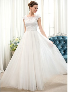 A-Line/Princess Scoop Neck Floor-Length Tulle Lace Wedding Dress With Beading Flower(s) Sequins (002052653)