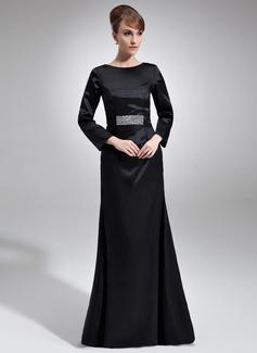 Etui-Linie U-Ausschnitt Bodenlang Charmeuse Kleid für die Brautmutter mit Perlen verziert (008006227)