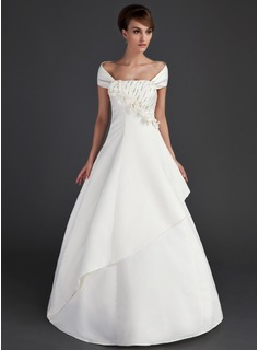 Ball-Gown Off-the-Shoulder Floor-Length Satin Wedding Dress With Ruffle Beading Flower(s) Sequins (002015669)