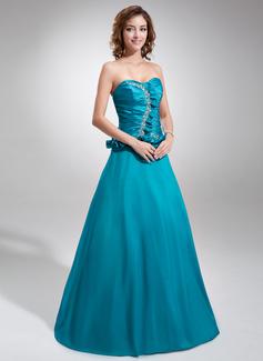 A-Linie/Princess-Linie Herzausschnitt Bodenlang Taft Quinceañera Kleid (Kleid für die Geburtstagsfeier) mit Rüschen Perlen verziert (021025996)