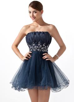 A-Line/Princess Scalloped Neck Short/Mini Taffeta Tulle Homecoming Dress With Ruffle Beading Sequins (022004340)