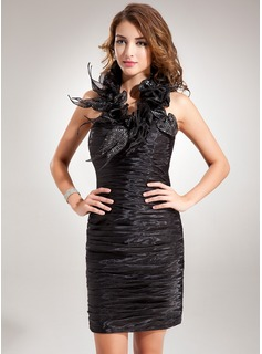 Sheath/Column Halter Short/Mini Organza Cocktail Dress With Ruffle Sequins (016008251)