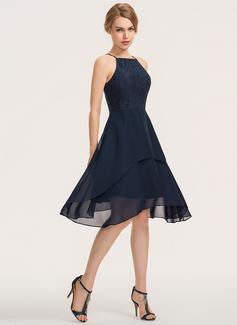 A-Line Square Neckline Knee-Length Chiffon Lace Bridesmaid Dress With Cascading Ruffles (007190700)