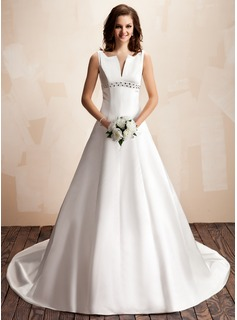A-Line/Princess V-neck Chapel Train Satin Wedding Dress With Beadwork (002000072)