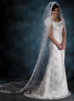 Uno strato Velare da sposa cappella con Bordi in pizzo (006020540)