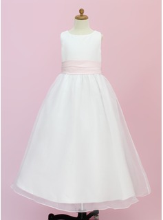 Flower Girl Dresses A-Line/Princess Scoop Neck Ankle-Length Organza Satin Flower Girl Dress With Sash Flower(s) (010004442)