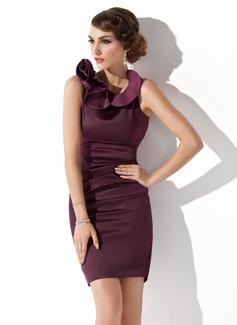 Etui-Linie U-Ausschnitt Kurz/Mini Charmeuse Kleid für die Brautmutter mit Gestufte Rüschen (008013758)