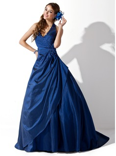 Ball-Gown Halter Sweep Train Taffeta Prom Dress With Ruffle Beading (018043605)