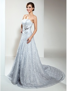 A-Line/Princess Strapless Chapel Train Satin Lace Wedding Dress With Beadwork (002000173)