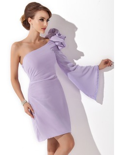 Forme Fourreau Encolure asymétrique Court/Mini Mousseline Robe de cocktail avec Fleur(s) (016008244)