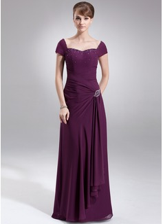 A-Linie/Princess-Linie Herzausschnitt Bodenlang Chiffon Kleid für die Brautmutter mit Rüschen Perlen verziert (008006065)