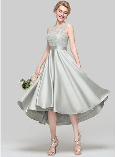A-Line/Princess Scoop Neck Asymmetrical Satin Cocktail Dress (016096567)