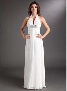 A-Line/Princess Halter Court Train Chiffon Wedding Dress With Ruffle Beading (002011438)
