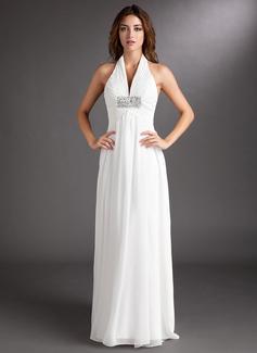 Forme Princesse Dos nu Traîne moyenne Mousseline Robe de mariée avec Plissé Emperler (002011438)