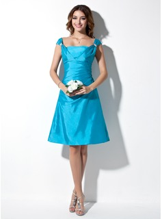 Cheap Bridesmaid Dresses A-Line/Princess Off-the-Shoulder Knee-Length Taffeta Bridesmaid Dress With Ruffle Beading (007001040)