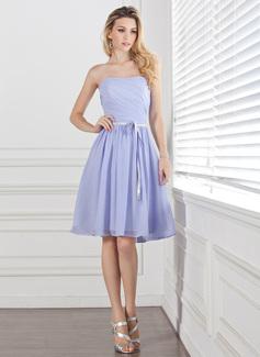 A-Linie/Princess-Linie Herzausschnitt Knielang Chiffon Brautjungfernkleid mit Rüschen Schleifenbänder/Stoffgürtel (007004304)