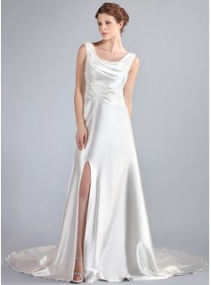 A-Line/Princess Cowl Neck Watteau Train Charmeuse Lace Wedding Dress With Ruffle Beading Split Front (002019719)