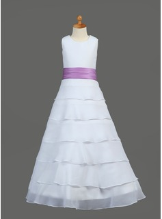 A-Line/Princess Floor-length Flower Girl Dress - Chiffon/Charmeuse Sleeveless Scoop Neck With Ruffles/Sash/Flower(s) (010002146)