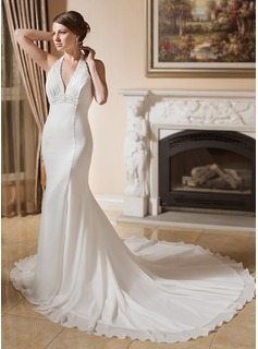 Trumpet/Mermaid Halter Chapel Train Chiffon Wedding Dress With Ruffle Lace Beading (002000043)