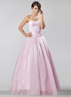 A-Linie/Princess-Linie Herzausschnitt Bodenlang Organza Quinceañera Kleid (Kleid für die Geburtstagsfeier) mit Perlen verziert (021020885)