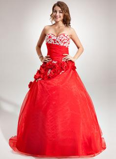 Duchesse-Linie Herzausschnitt Bodenlang Organza Quinceañera Kleid (Kleid für die Geburtstagsfeier) mit Perlen verziert Applikationen Spitze Blumen (021016389)