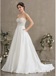 Ball-Gown/Princess Sweetheart Court Train Satin Wedding Dress With Beading Sequins Pockets (002186399)