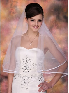 One-tier Fingertip Bridal Veils With Ribbon Edge (006002246)