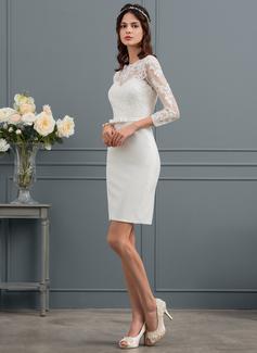 Vestido tubo Espejismo Hasta la rodilla Crepé Elástico Vestido de novia con Lentejuelas Lazo(s) (002153437)