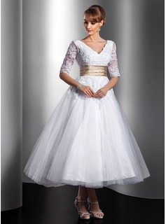 Robe de Marie Ligne-A/Princesse Col V Longueur cheville Satin Tulle Robe de Marie avec Dentelle Echarpes Perl (002014739)
