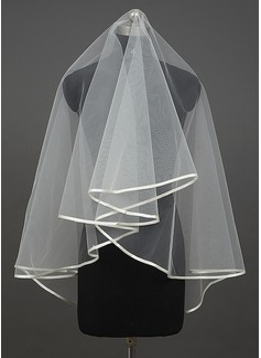 One-tier Waltz Bridal Veils With Ribbon Edge (006034407)