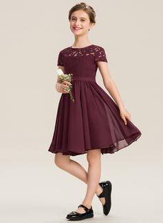 Corte A Decote redondo Coquetel Tecido de seda Renda Vestido de daminha júnior com Curvado (009173274)
