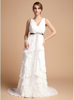 A-Line/Princess V-neck Sweep Train Chiffon Wedding Dress With Ruffle Lace Sash Beadwork (002012069)