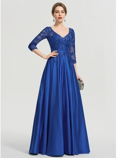 Ball-Gown/Princess V-neck Floor-Length Satin Prom Dresses With Sequins (018192897)