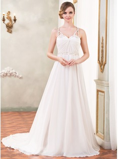 A-Line/Princess Sweetheart Cathedral Train Chiffon Satin Tulle Wedding Dress With Ruffle Beading Sequins (002055089)