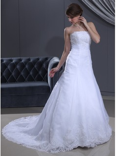 A-Line/Princess Strapless Court Train Organza Satin Wedding Dress With Ruffle Lace Beadwork (002000385)