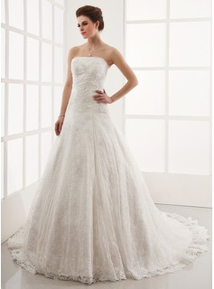A-Line/Princess Strapless Cathedral Train Satin Lace Wedding Dress With Beading (002011586)