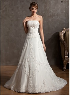 A-Line/Princess Strapless Chapel Train Satin Wedding Dress With Beading Appliques Lace (002014940)