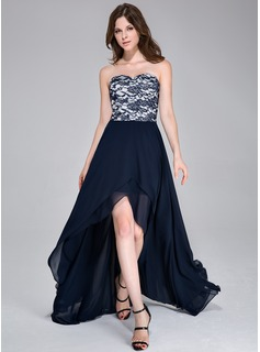 A-Line/Princess Sweetheart Asymmetrical Chiffon Prom Dress (020037399)