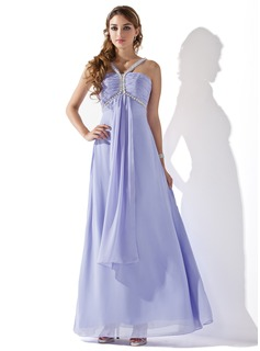 Empire V-neck Floor-Length Chiffon Prom Dress With Ruffle Beading (018013784)