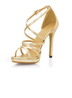 Patent Leather Stiletto Heel Slingbacks Sandals (087017925)