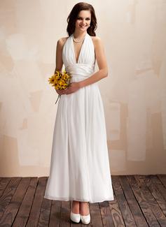 Forme Princesse Dos nu Longueur cheville Mousseline Robe de mariée avec Plissé À ruban(s) (002012645)