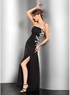 A-Line/Princess Strapless Floor-Length Chiffon Evening Dress With Ruffle Beading Appliques Lace Sequins Split Front (017014527)