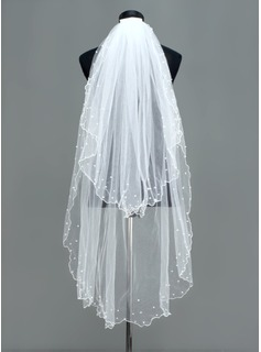 Two-tier Fingertip Bridal Veils With Scalloped Edge (006005382)