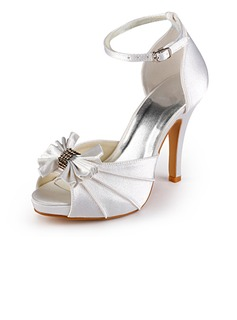 Women's Satin Cone Heel Peep Toe Platform Sandals With Bowknot Buckle (047005118)
